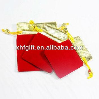 mini drawstring bag with metallic top