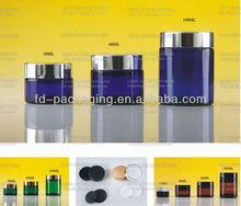 30ml, 60ml, 100ml, amber,blue,green Glass jar with aluminum lid, glass cosmetic jar, cream jar