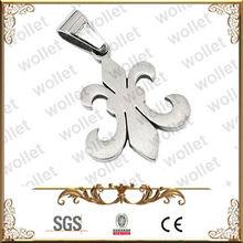 Popular Matt Finish Stainless Steel Fleur De Lis Pendant