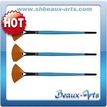 Golden synthetic fan artist paint brush,artist brush brass