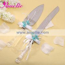 A05112 More Colors Aqua Wedding Personalized Cake Knife Server Set