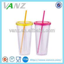 20OZ New Double Wall Plastic Straw Tumbler/Ice Mug