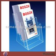 Transparent Top Grade Wall Mounted Acrylic Plastic Magazine Display Book Holder Rack Case