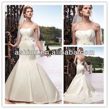 WE-1852 Strapless soft sweetheart neckline cheap ivory satin low v back sexy mermaid wedding dress 2013