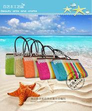 2013 blast color strip lace edge straw bag