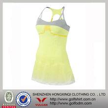 las ventas caliente de color amarillo brillante equipada rápido en seco de las señoras vestido de tenis