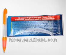 Promotional cord banner pen, plastic pen