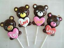 Bear shape gummy lollipop candy