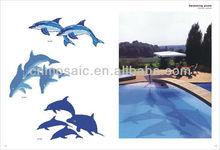 Swimming pool glass mosaic dolphin pattern