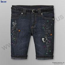 SALCAR Wholesale Branded Girl's Denim Shorts With Belt Dark Wash