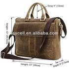 100% Real Crazy horse Leather Men's Brown Vintage Briefcase Handbag Shoulder Laptop bag