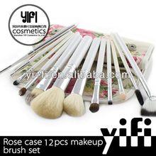 Distributor Rose Flower Case White 12pcs Makeup Brush Set flat and fat powder brushes