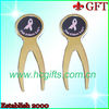 High quanlity gold-plated metal golf pitchfork with logo