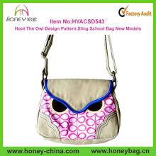 New Arrival Hoot The Owl Design Pattern Canvas Sling School Bag New Models