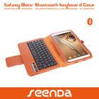 Detachable Wireless Bluetooth keyboard Good PU leather folio case for Samsung Galaxy Note 8.0 N5100