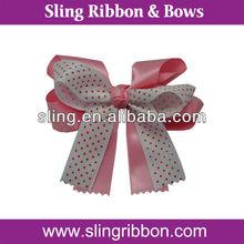 Polka Dots & Wavy Edge Ribbon Hair Bows For Girls