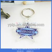 Promotional star shaped blank plastic acrylic keychains key chains