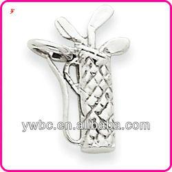 14k white gold polished 3-D golf bag & clubs charm