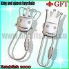 Novel design double crown silver key chain