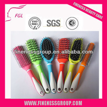 colorful handle rubber coating hair brushes