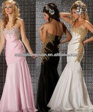 SJ1204 new design custom good quality low price chiffon beaded pink evening dress
