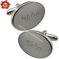Oval shaped usher custom wedding cufflinks with epoxy