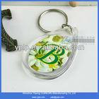 Souvenir water-drop shape clear plastic acrylic key chain key ring key holder for promotion item