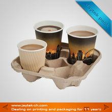 eco-friendly pulp coffee cup tray