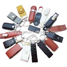 Custom logo leather case usb flash drive , multi options usb leather with key chain