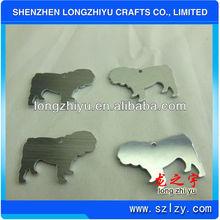 Dog shape aluminium blank nameplate brushed name tag metal sign label badge dog tag emblem maker