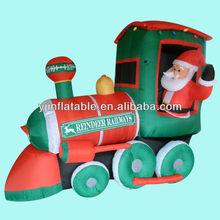 NEW! gemmy christmas airblown inflatable santa driving a train