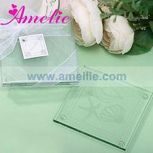 A07964 Glass Beachy Coaster Favors Seashell Wedding Favor