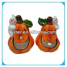 2013 Ceramic Halloween Pumpkin With Green Leaf