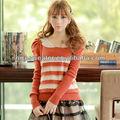 a rayas jersey de ganchillo de algodón para mujer suéters