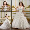 V-neckline Ball Gown Ivory Organza Affordable Wedding Dress 2012