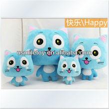 super soft plush blue cat with big eyes