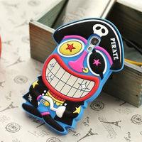 cute cartoon 3D pirate case for samsung galaxy s4 rubber cover soft phone case