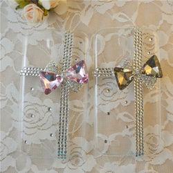 new design plastic transparent hard case for samsung galaxy s4 diamond bow case
