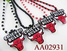 fashion chicago bull wood necklace 2013 moq 1dz