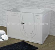 Acrylic white square handicapped walk in bath ,low price freestadning bathtub