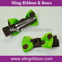 Brown Dot Printed Apple Green Ribbon Hair Ornament