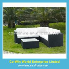 6pcs All Weather Black Rattan Garden Furniture Patio Corner Sofa Set