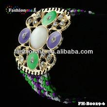 Fluorescent green&purple color woven bracelet
