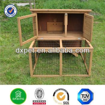 2 Lvl Wood Rabbit Guinea Pig Hutch Pet House Cage Pen DXR022