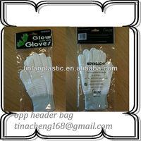 OPP biodegradable plastic gloves bag plasitc opp bag hanger