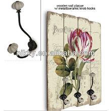 Wood wall hanging hook,Flower decorative wall hooks,Decorative wall art hook