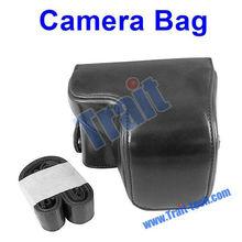 Black Leather Digital Camera Case for Sony NEX - 6 For NEX6 w / 16-50mm Lens - B
