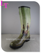[Eight Horses-Chinese Famous Painter]Men/Women Beautiful Galosh Rainboot