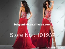 Custom New Arrival Sweetheart Long Red Split Apliques Beaded Rhinestone Evening Gowns Chiffon Couture Dresses For Women 2013