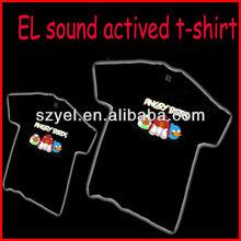 Good quality 100% cotton led t-shirt / EL equalizer tshirt / led glowing up t-shirt